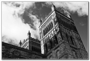 Durham Cathedral towers - B&W